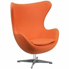 Orange Wool Fabric Egg Chair With Tilt-Lock Mechanism New