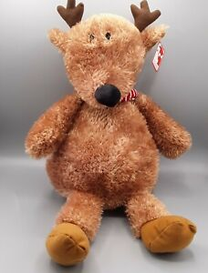 """Gund Brown Reindeer Plush with Red Striped Scarf Small Eyes 15"""" H 4061608"""
