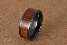 8mm Black Ceramic Koa wood Ring Flat Style and Comfort Fit