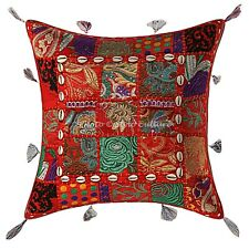 Decorative Cotton Patchwork Throw Pillow Cover Bohemian Cowrie 43x43 Embroidered