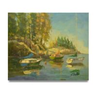 NY Art -Impressionist Sailboats in Summer 20x24 Original Oil Painting on Canvas!