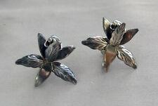 Vintage Sterling Silver FLOWER Screw Back Earrings Made in Mexico;K976