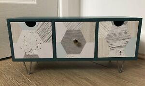 Decorative Wooden Storage Box, 3 Drawer Tabletop Shabby Chic