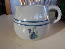 Purple Flowers and 2 Blue Stripes Medium Salt Glazed Pitcher