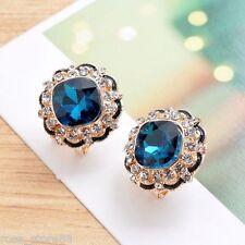 1 Pair New Women Lady Fashion Elegant Blue Crystal Rhinestone Ear Stud Earrings
