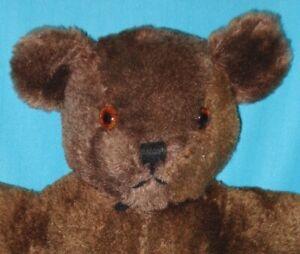 """1940-50s! Vintage 14"""" BROWN MOHAIR American Teddy Bear"""