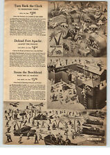 1961 PAPER AD US Marines Storm Beach Soldiers Fort Apache Toy Dinosaurs Cavemen