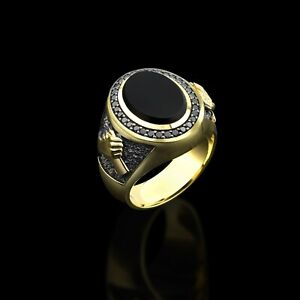 Mens Onyx Ring Gold Color Signet Ring For Man Onyx Gemstone Man Ring Unique Gift
