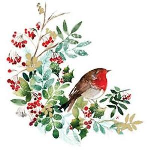 Christmas robin decoupage napkins 4 x individual decoupage napkins