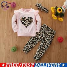 Kids Baby Girls Leopard Heart T-shirt Tops Pants Headband Clothes Outfits 3pcs