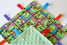 TMNT Ninja Turtles Handmade Baby Sensory Ribbon, Taggy, Lovey, Security Blanket