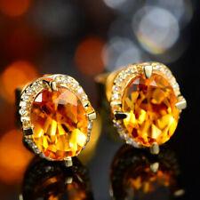 Luxury 18K Yellow Gold Plated Citrine Oval Gemstone Earrings Studs Women Jewelry