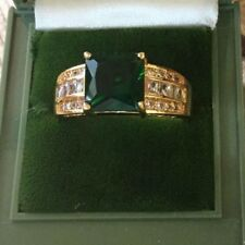 Antique Art Deco Vintage Gold Ring Emerald Green and Sapphire White Stones sz 13