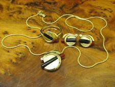8kt 333 Yellow Gold Jewelry Set with Zirconia, Carnelian And Onyx Trim / 0.5oz