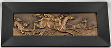 Antique bronze wall plaque male nude on horse Mazeppa  with wolves, 1900
