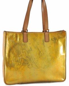 Authentic Louis Vuitton Vernis Columbus Shoulder Tote Bag Yellow M91047 LV D7411