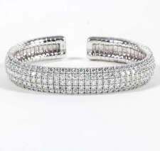 DIAMOND TOP SET CUFF BANGLE 5 ROW DIAMOND ROUND BRILLIANT BANGLE BRACELET