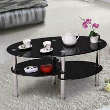 New Oval Glass Side Coffee Table with Shelf Living Room Home Furniture Black
