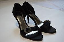 Dorothy Perkins– black silk occasional wedding diamond heel sandal shoes, size 5