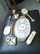 Vintage Petit Point Ormulu Brass Embroidered Vanity/Dressing Table set