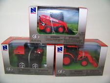 "New Ray Kubota 3"" Vehicle Mini Toy Tractors Front Loaders 3 Piece Assortment"