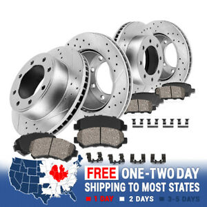 Front & Rear Drill Slot Brake Rotors And 8 Ceramic Pads For Ford F250 F350 4WD