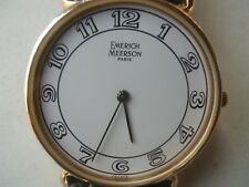 Emerich Meerson women's green leather & Analog dress wrist watch.Made in France