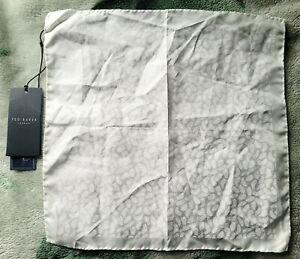 Brand New Ted Baker White Leaf Pocket Square/Handkerchief (3)