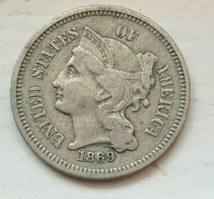 US 1869 Three 3 Cent Nickel Circulated Coin  (#D72)  VF