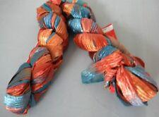 "2 Skeins Feza Lydia 1/2"" Ribbon Yarn Blue Orange #301"