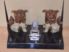 Vintage Fu Foo Dog Majolica Pottery Ceramic Sculptures Office Desk Pen Set Asian