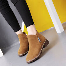 Spring Womens Winter Snow Faux  Zipper Chunky Low Heel Ankle Boots Shoes