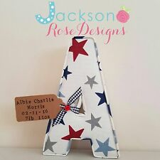 Fabric letter with tag Wall Art Handmade Nursery, Name, personalised, girl, boy