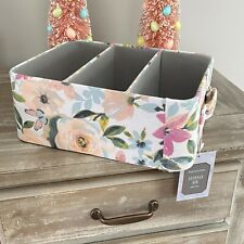 Sheffield Home 3 Section Fabric Floral Storage Organizing Baskets Bin New