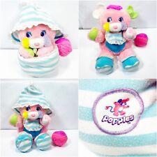 "Popples Baby Cribsy Vintage 1986 Mattel Pink Plush Rattle Popple Stuffed Toy 12"""