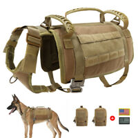 Large Working Dog Harness No Pull MOLLE POLICE K9 Training Vest with Pouch Bags