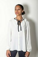 NEW WOMENS EX RIVER ISLAND WHITE WITH BLACK TIE PLEATED DETAIL SHIRT SIZE 6-14
