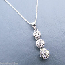 "CZ Drop Pendant w/ 18"" Box Chain Necklace .925 Sterling Silver Birthday Gift New"