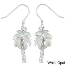 Sterling Silver White Inlay Opal Palm Tree Earrings