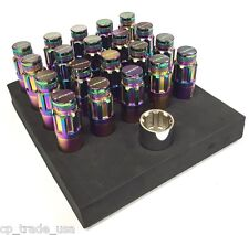 NRG STEEL LUG NUTS WITH DUST CAP COVER SET 12X1.25 NEO CHROME