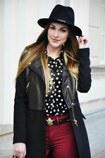 ZARA  BLACK LEATHER COMBINED BIKER ZIP JACKET COAT BLAZER SMALL BLOGGERS