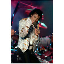 Michael Jackson Wearing White Sequin Jacket on Stage 8 x 10 Inch Photo