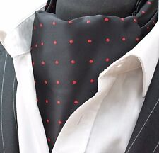 Cravat Ascot Black with Red spot with matching hanky.