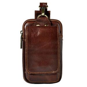 Men Vintage Leather Belt Bag Cell Phone Coin Purse Pocket Waist Bum Fanny Pack