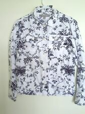 Croft & Barrow White Floral 3/4 Sleeve Button Down Jean  jacket Shirt sz S