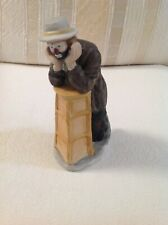 Emmett Kelly Jr Figurine Clown Resting Elbows On A Stool Flambro, 8 inches tall
