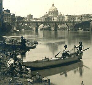 "Two Lovely Photographs of Rome Scenes- Fishermen- Ruins- 8"" x 10"""