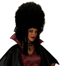 Ladies Madam Black Wig Tall Beehive Panto Vamp Burlesque Halloween Fancy Dress