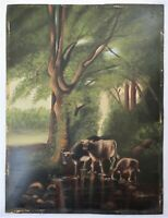 Antique Oil Painting Folk Art FARM COWS LANDSCAPE Country Primitive VICTORIAN