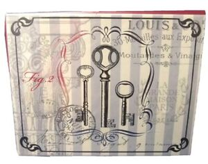 KEYS with French Background Design  - 6 ct Blank NOTE CARD SET envelopes SALE